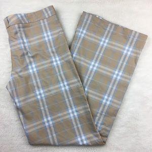 "Burberry Plaid Check Wide Leg Pants Size 8x33"""